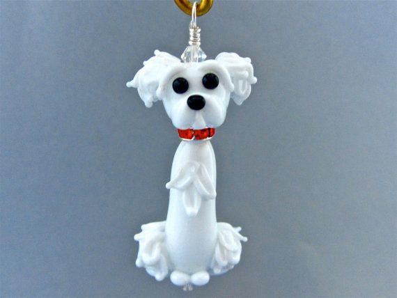 Custom Maltese For Carmen  Lampwork Glass Bead Ornament by SUZOOM