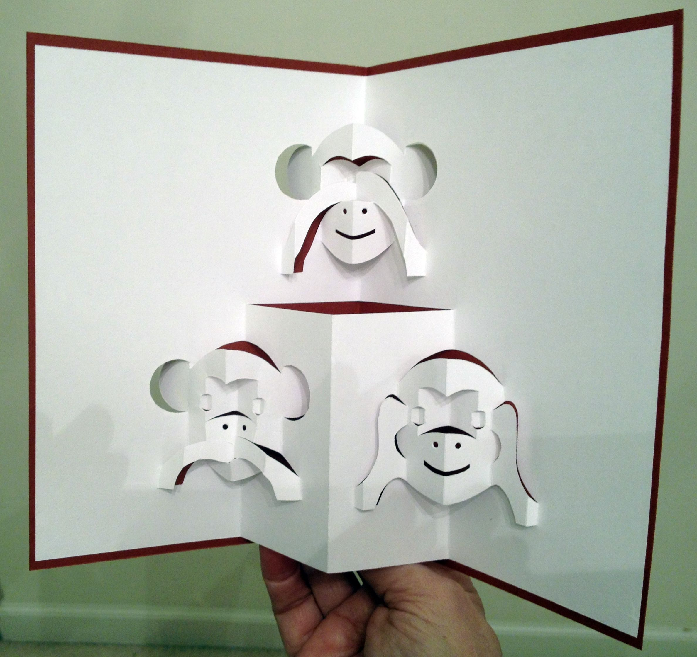 Three monkeys pop-up card (template from Pattern Sheets of ...