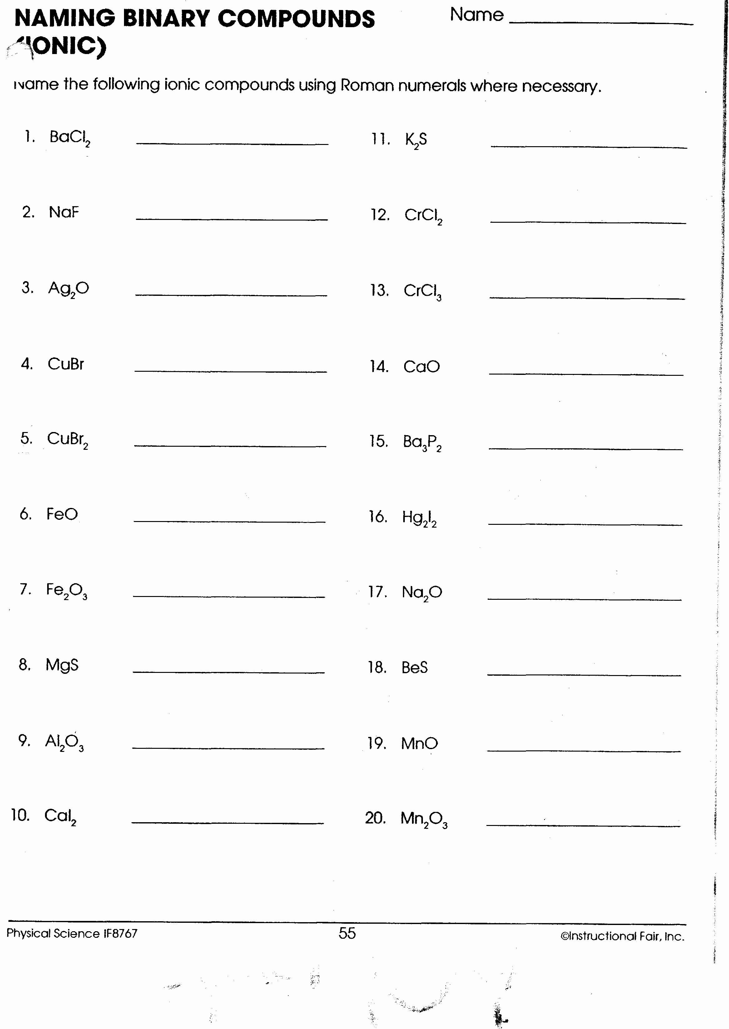 50 Naming Chemical Compounds Worksheet Answers In