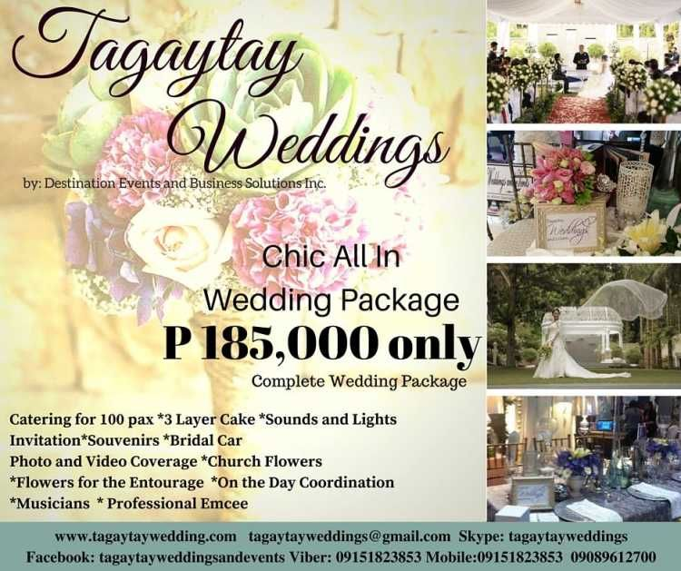 Chic All In Wedding Package By Tagaytay Weddings And Events Tagaytay Wedding Wedding Package Wedding Service