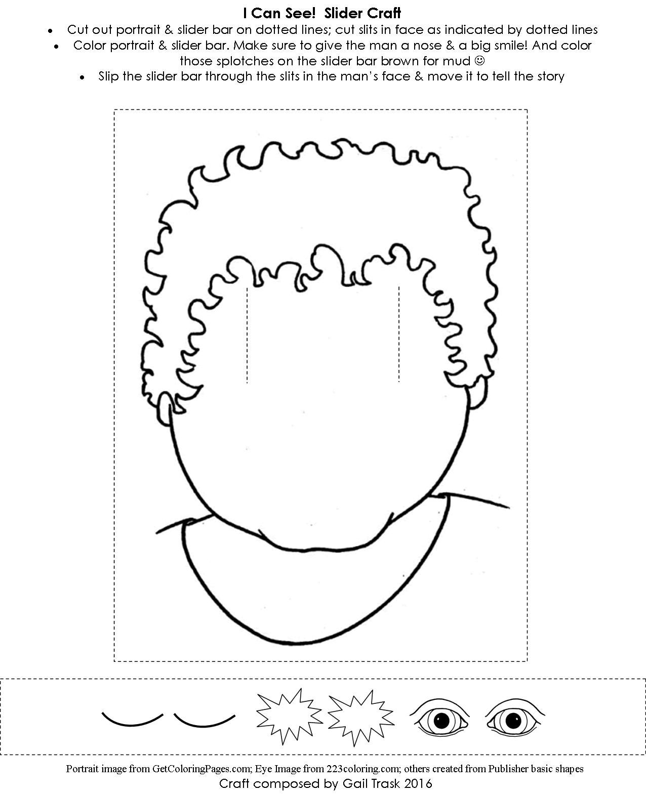 jesus heals bartimaeus coloring page - jesus heals the man born blind students can slide his