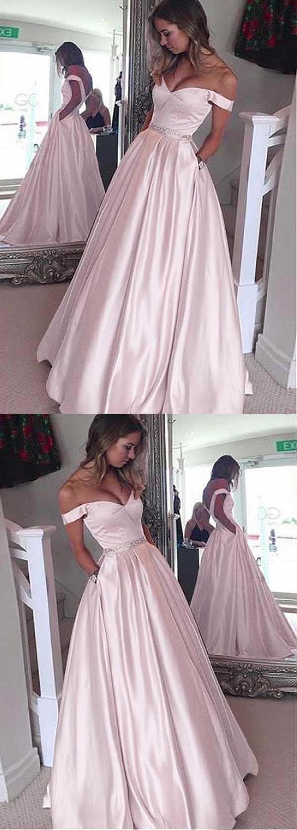 Fetching prom dresses elegant satin offtheshoulder neckline a
