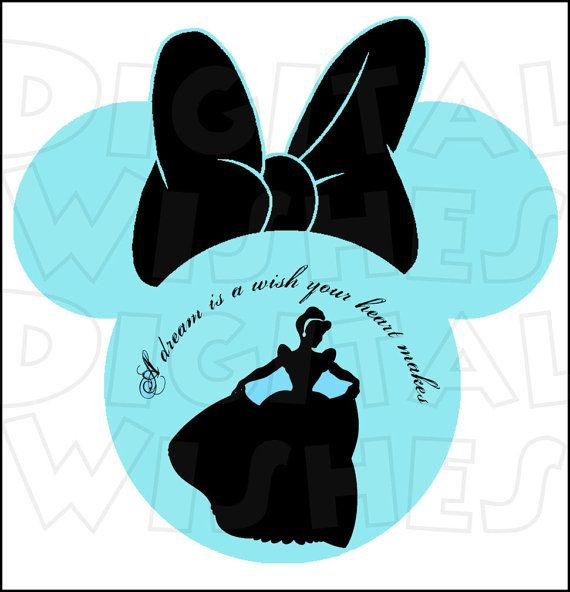 cinderella silhouette minnie mouse head digital iron on transfer image clip art image instant download