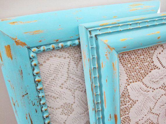 Tiffany Blue Picture Frames Rustic Chic Home Decor Sealoveandsalt