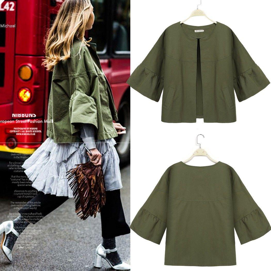 Click To Buy Fanala New Fashion Women Outwear Coat No Collar 3 4 Sleeve Front Open Tops Cotton Blend Poc Outwear Women Casual Outwear Coats Jackets Women [ 1050 x 1050 Pixel ]