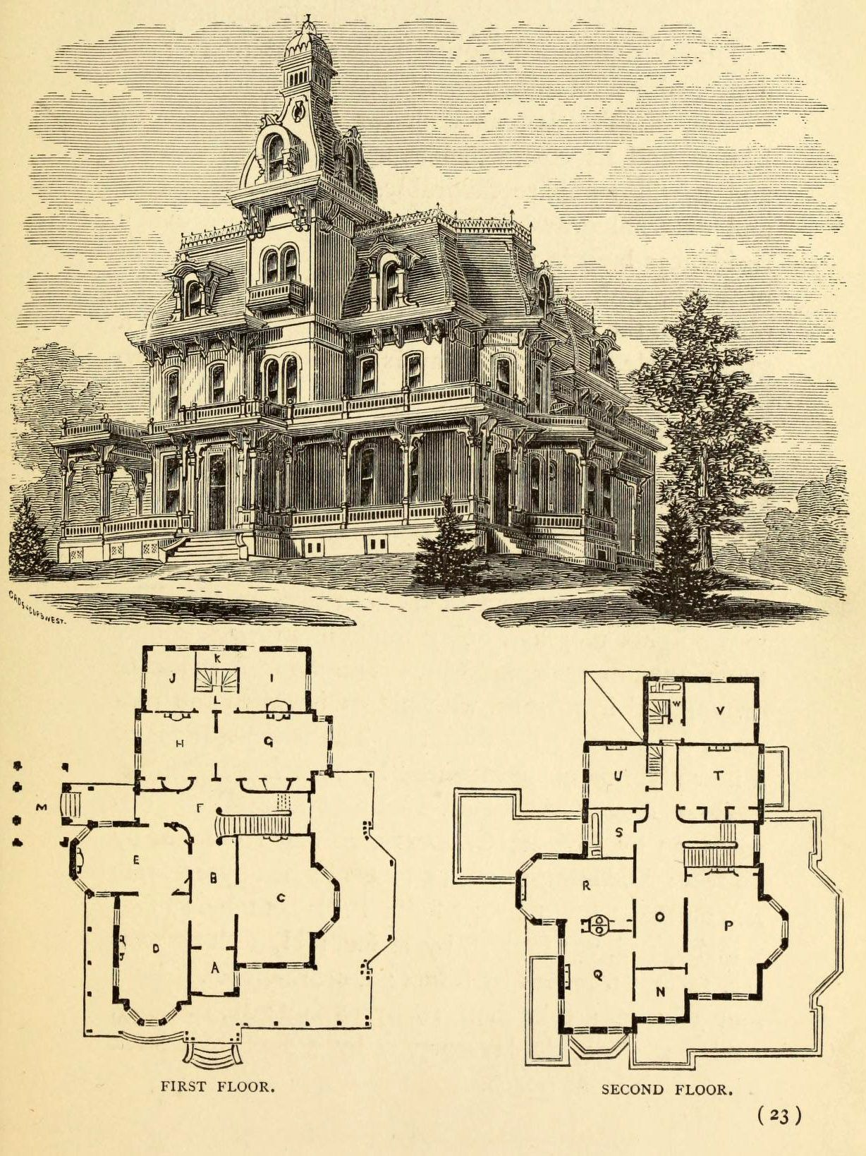 Manor House Drawing: Design For A Large Residence