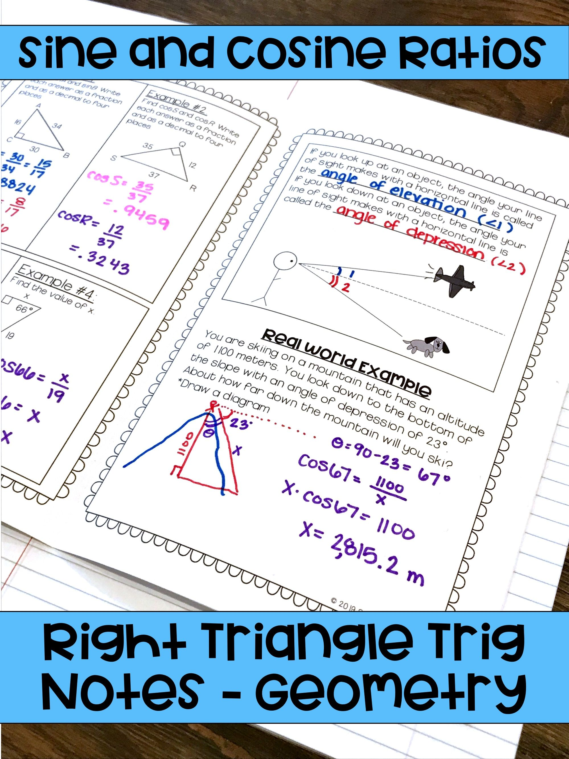 Right Triangle Trigonometry Geometry Unit Notes Trigonometry Right Triangle Geometry Interactive Notebook