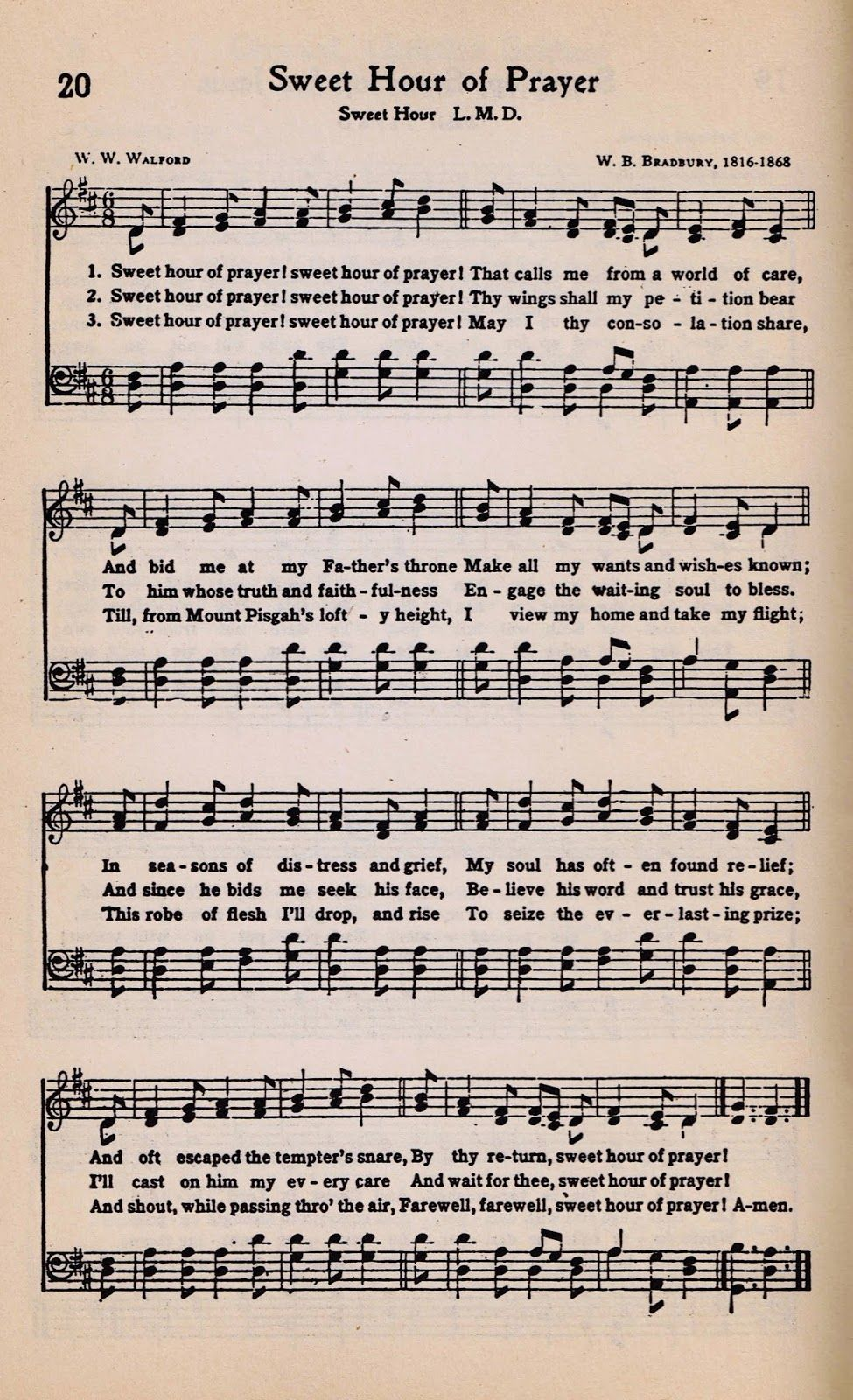 Printable Antique Hymn Page Sweet Hour of Prayer Sweet