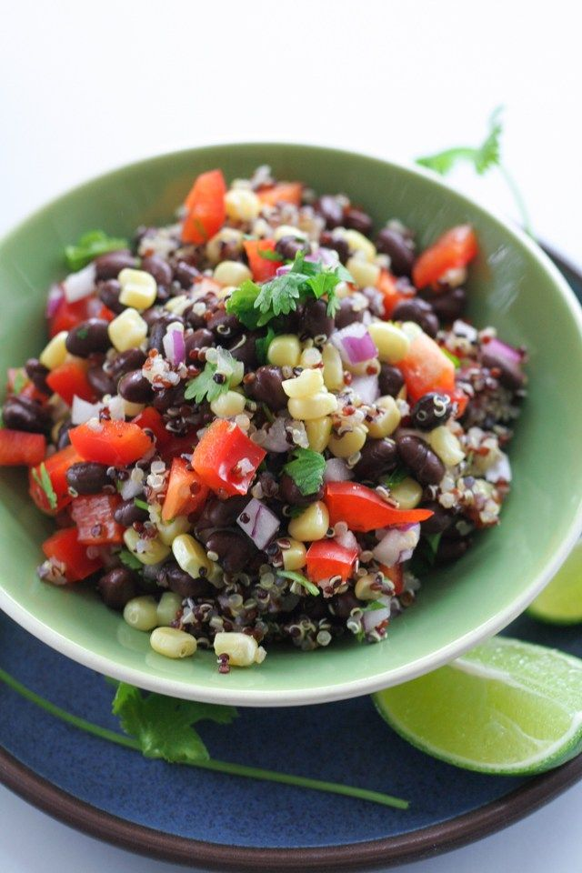 quinoa and black bean salad with lime vinaigrette - an easy, vegetarian, vegan salad with corn, peppers and cilantro... and tons of lime! [ inthiskitchen.com ]