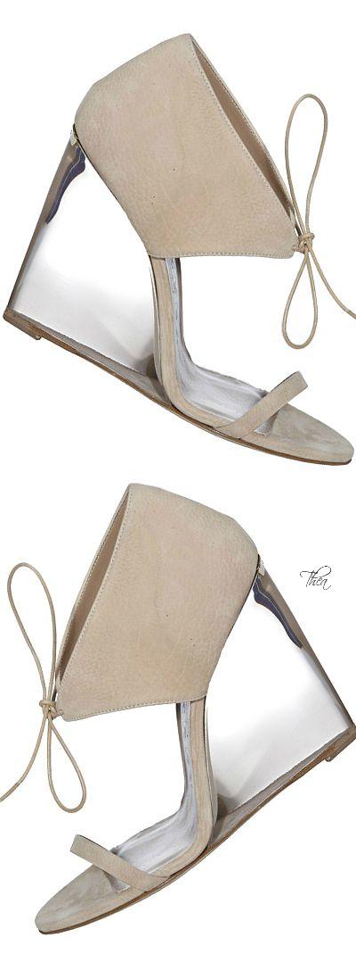 Burberry ~ Resort Ivory Suede Wedge Sandals 2015