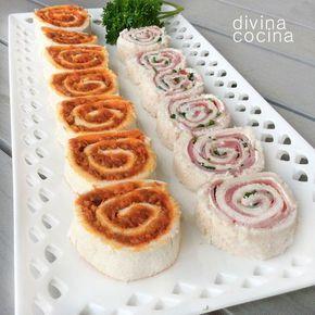 Aquí tienes muchas ideas para preparar canapés espirales de pan de molde con diferentes rellenos, y puedes ver cómo se hacen en las fotografías paso a paso.