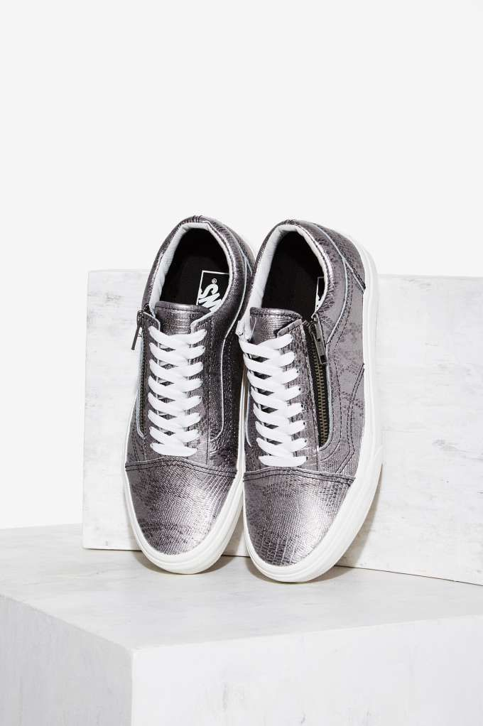 Zip Leather Python Old Shoes Skool Sneaker Silver Vans 80nkXwOP