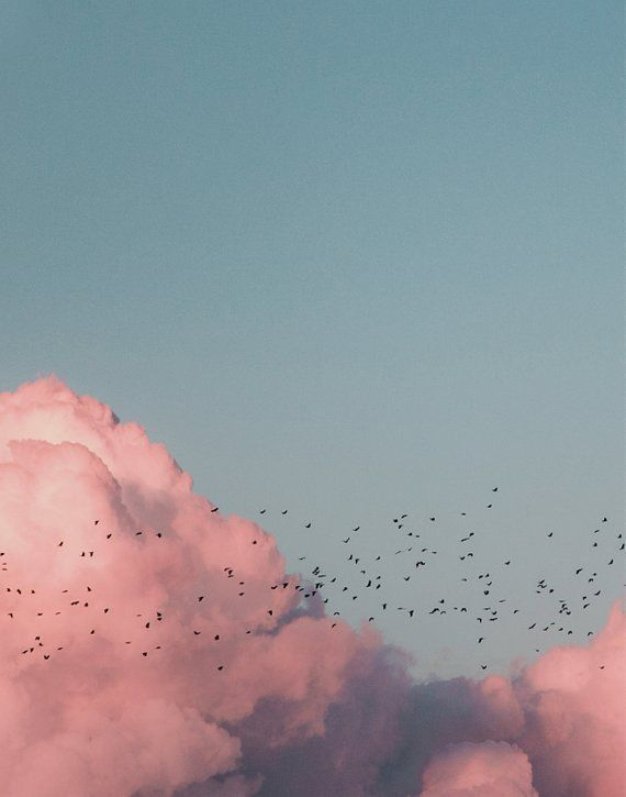 Blue Sky, Blue Sky Print, Printable Wall Art Cloud, Blue Pink Art Print, Blue Sky Print Set, Printable Wall Art Set of 2, Sky