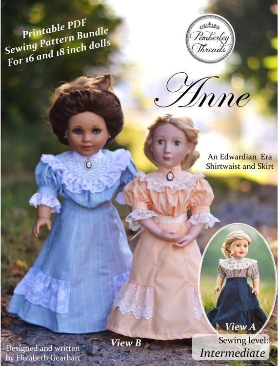 PDF Pattern Anne Shirtwaist and Skirt for 16 and 18 inch dolls such as American Girl A Girl for All Time #dolldresspatterns