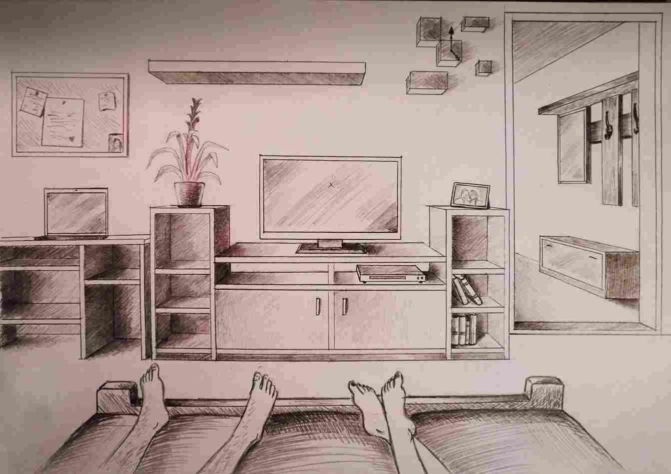 Image result for 2 point perspective kitchen sketches