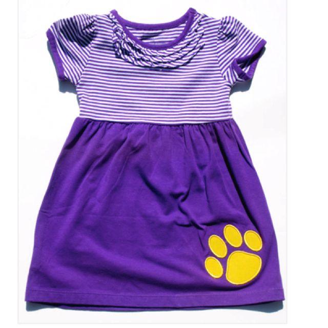 Girl/'s LSU Football Applique Dress