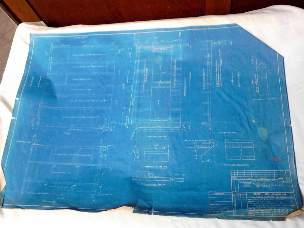 Vintage blueprint framing plan republic steel corporation warren vintage blueprint framing plan republic steel corporation warren ohio 1941 malvernweather Images