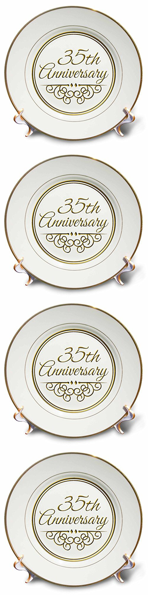 Personalized Bone Chinamemorative Plate For A 25th Wedding Anniversary   Rings And Doves Design With