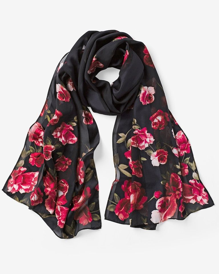 8f3f9023ce318 Our latest silk shadow stripe oblong scarf is complete with a beautiful  rose print. The long silhouette is a perfect alternative to a longline  necklace.