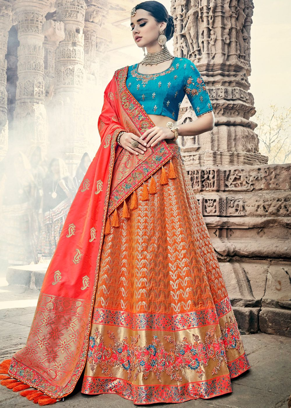1d5c8d8b6ce0 Orange A Line woven bridal lehenga in banarasi silk embellished with  intricate zari embroidery