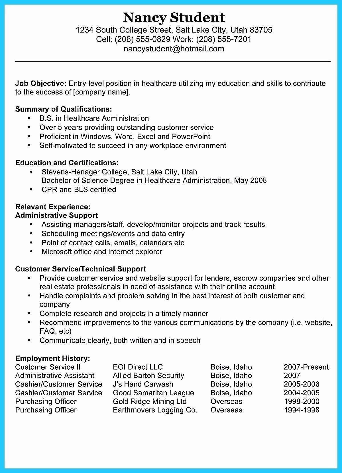 Resume Objective For Customer Service Elegant 9 Best Sales Resume