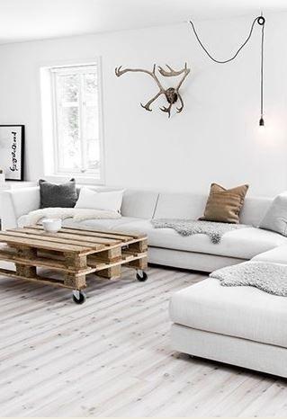 Nordic Living Room With White Sofa Palette Table Single Pendant Light Bulb Lamp
