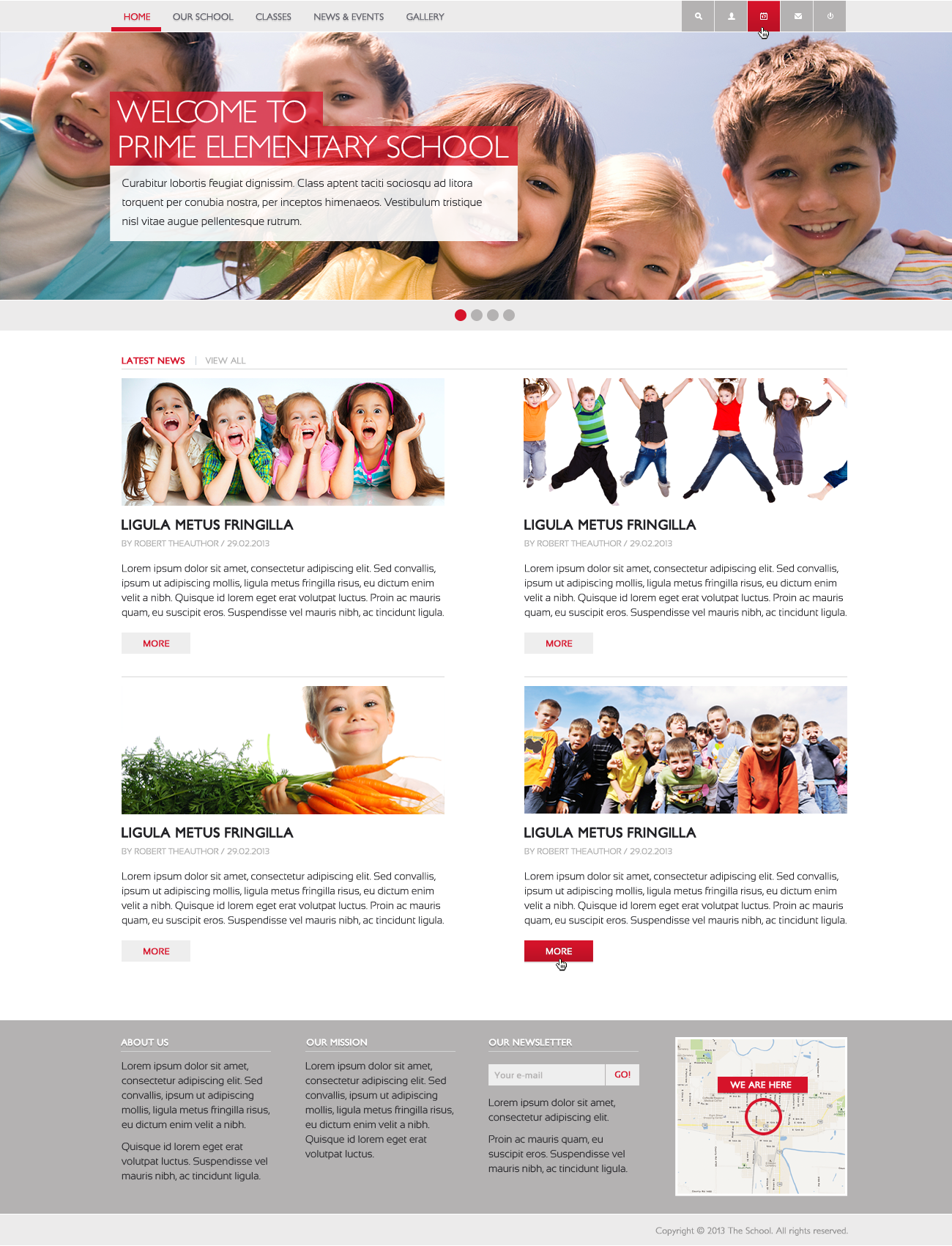 Elementary school web page layout design
