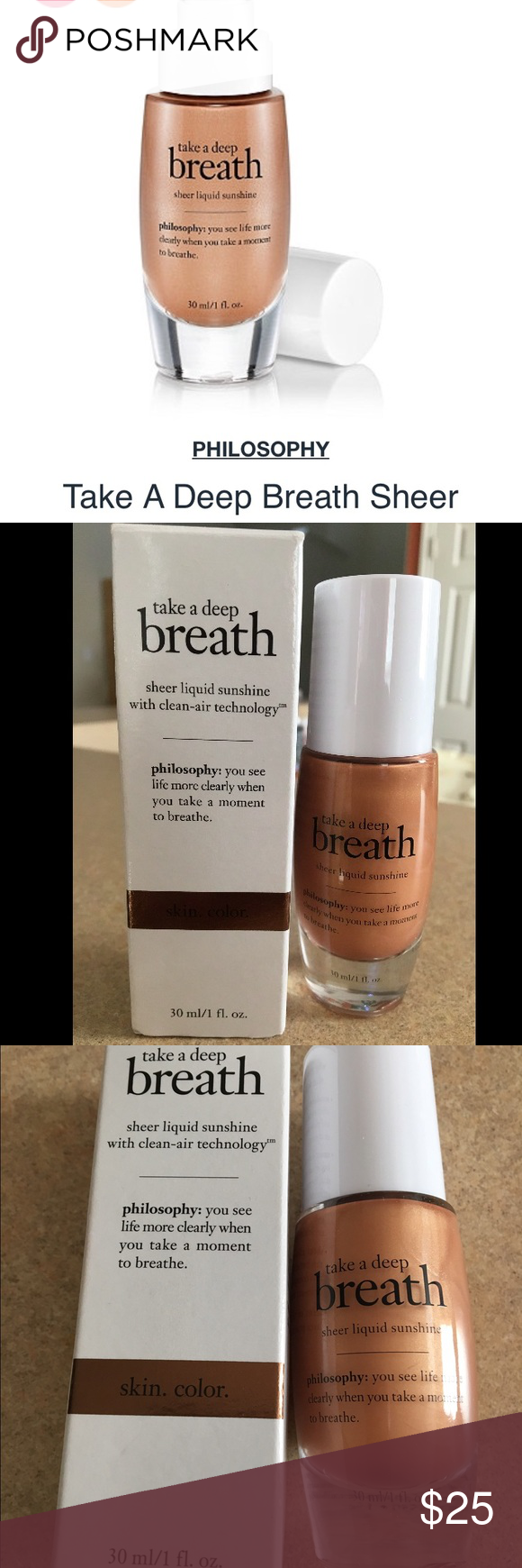 Philosophy Sheer liquid sunshine New in box take a deep breath sheer liquid sunshine with clean air technology. Leaves your skin with a subtle bronze and natural luminosity! Retails for $35 Philosophy Makeup Bronzer