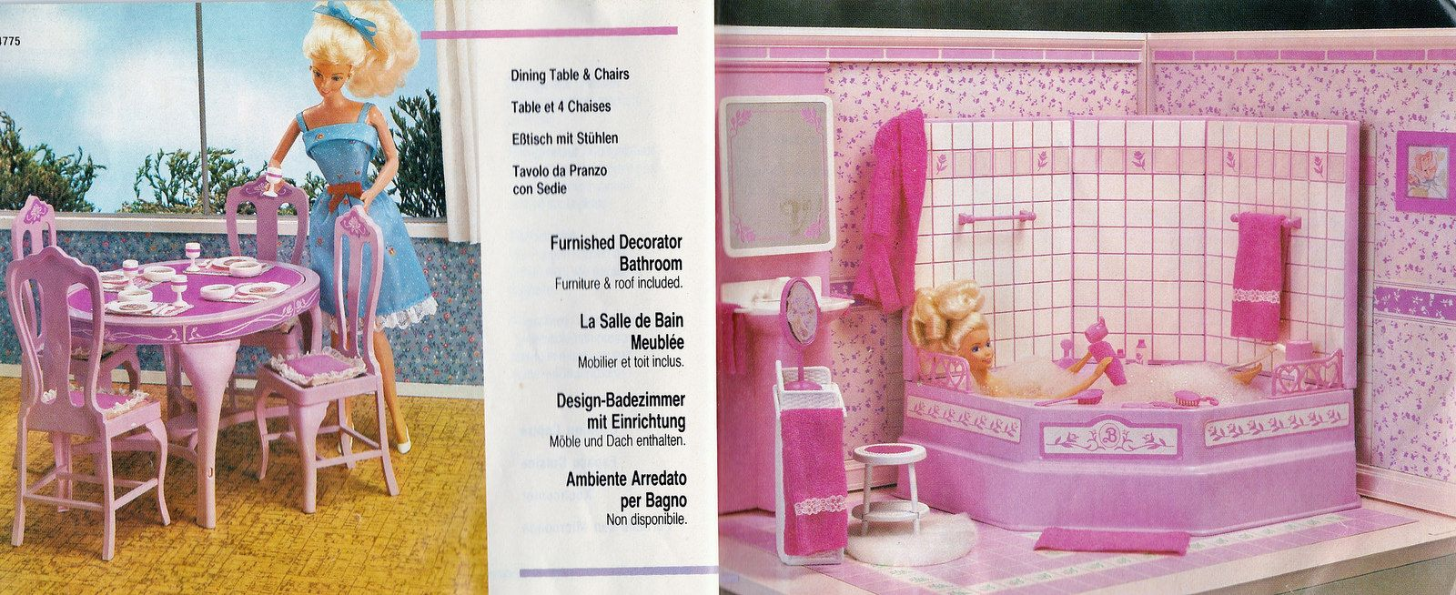 1987 living pretty barbie dining table & chairs #4775 // 1987, Badezimmer ideen