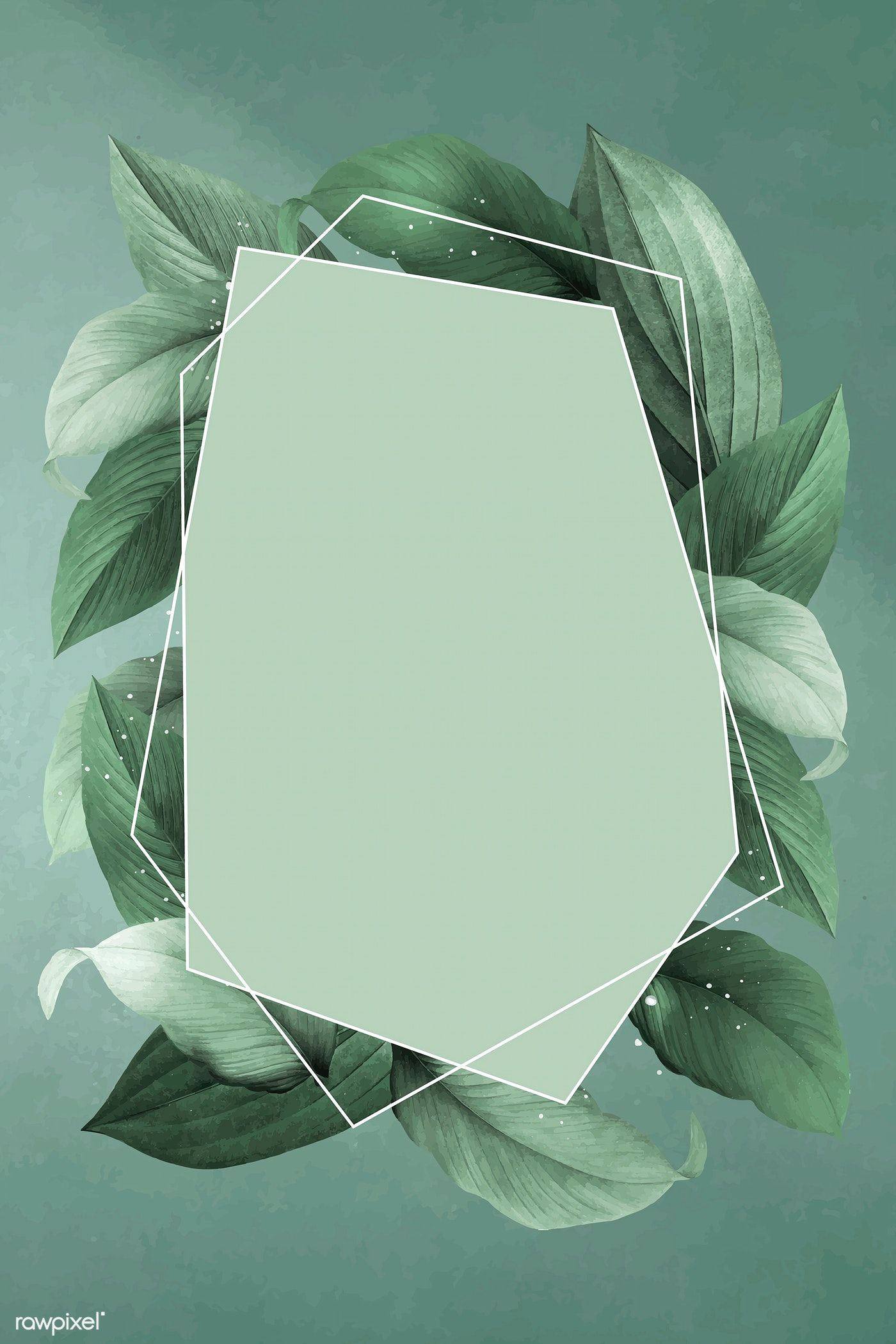 Download Premium Vector Of Hexagon Foliage Frame On Green Background Green Backgrounds Flower Background Wallpaper Leaf Background
