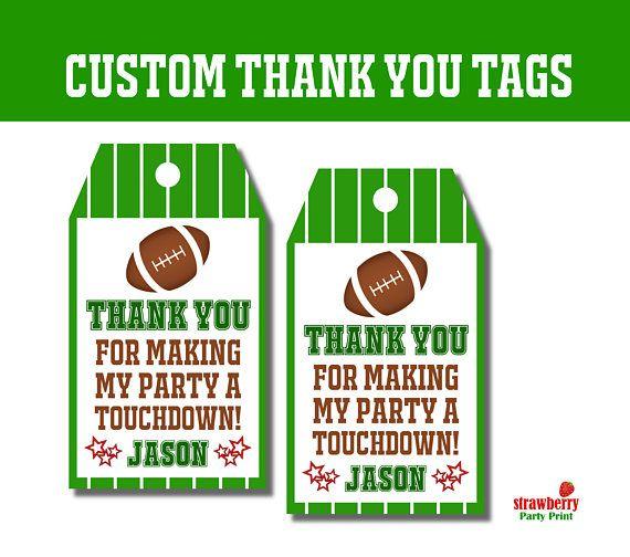 Custom Football Favor Tags, Football Thank You Tags, Party Favor
