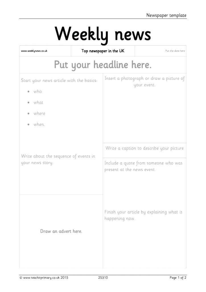 News Report Example For Kids Google Search Newspaper Template Newspaper Article Template Writing Templates