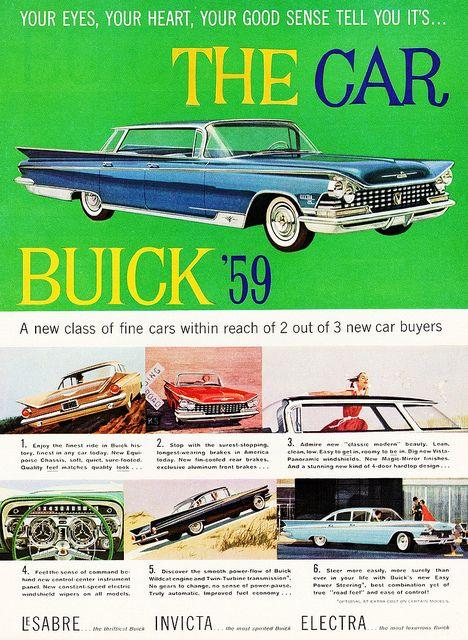 Large Car Ad 1959 Buick general motors company GM old classic photo advertisement parts print brochure dealer LeSabre Invicta Electra auto