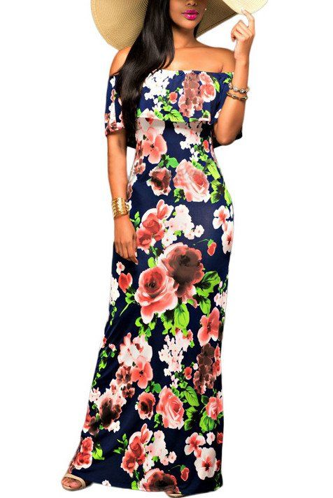 Bateau Neck Short Sleeves Floral Print Dress