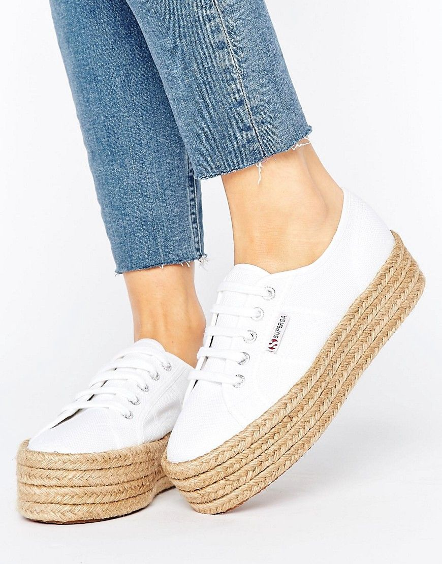 Superga 2790 Espadrille Flatform Trainers In White - White. Trainers by