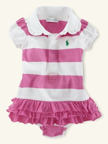 0779300c65 Ralph Lauren baby girl ruffled striped dress in pink and white ...
