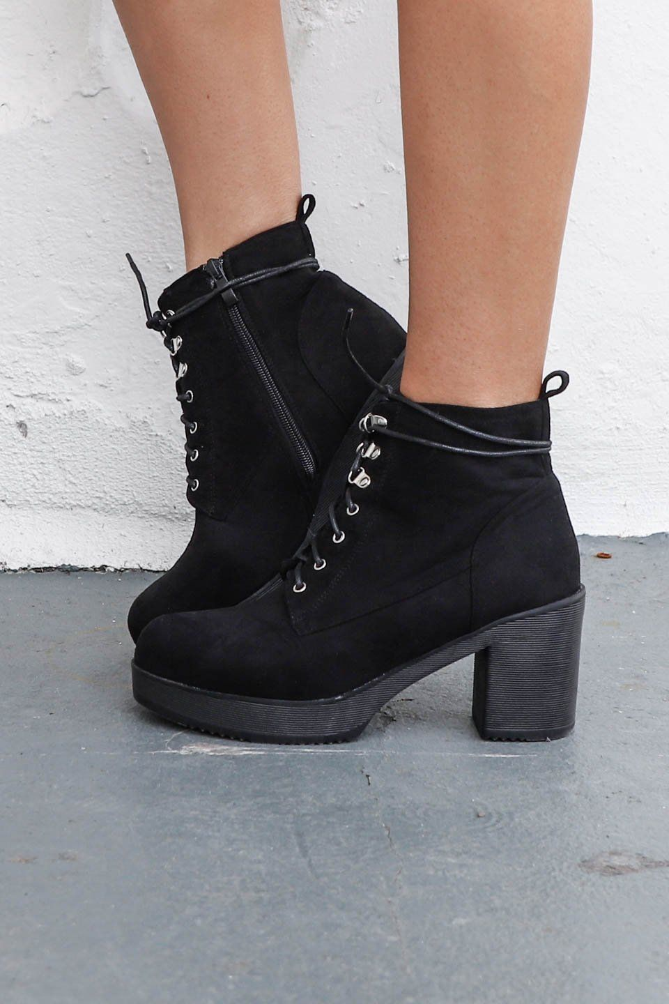 685288c8fef Be Good Faux Suede Black Combat Heel Boot | Amazing Lace New ...