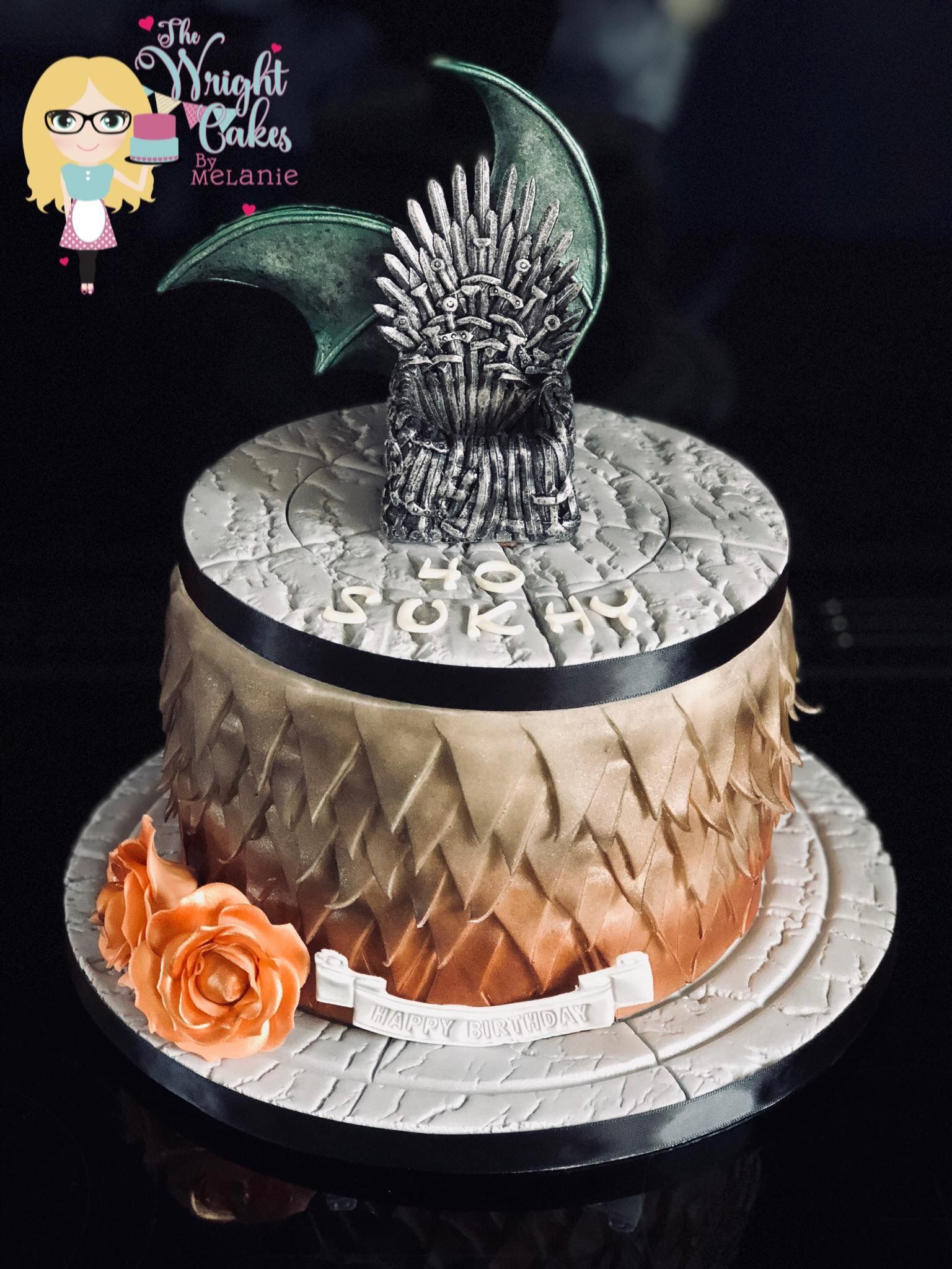 Game Of Thrones And Dragon Scales Birthday Cake With Images