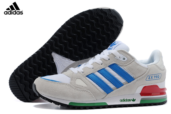 Men'sWomen's Adidas Originals ZX 750 Shoes WhiteGreyBlue