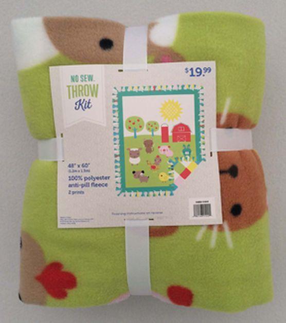 """48"""" Fleece No Sew Throw-Baby Farm"""
