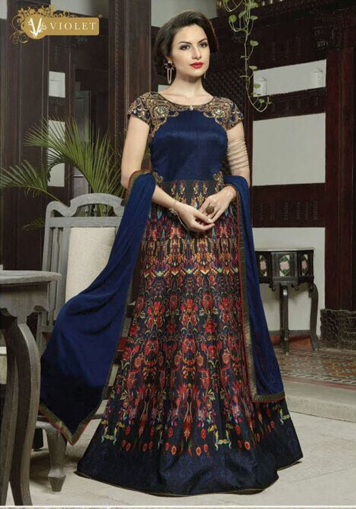 Buy apparels navy blue colour silk printed designer party wear long