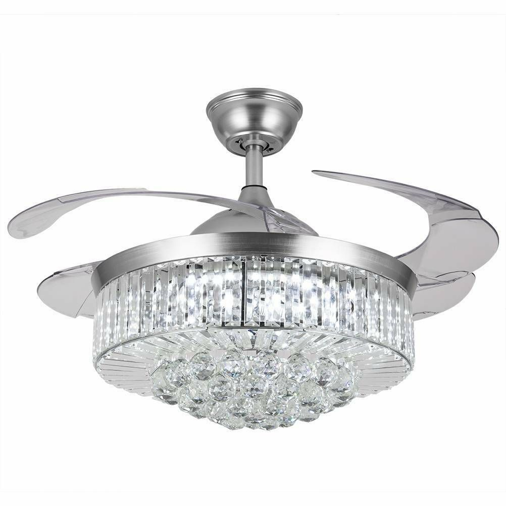 Silver Gold 36 42 Led Invisable Ceiling Fan Lamp Crystal Remote Chandelier Ebay In 2020 Ceiling Fan Ceiling Fan Crystal Fan Light