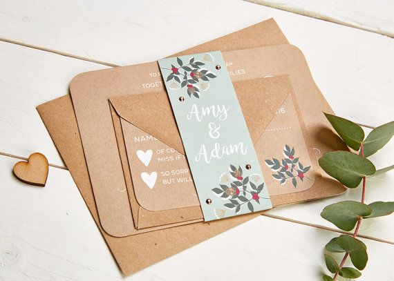 Winter Blossom & Berries Wedding Invitation Bundle by normadorothy