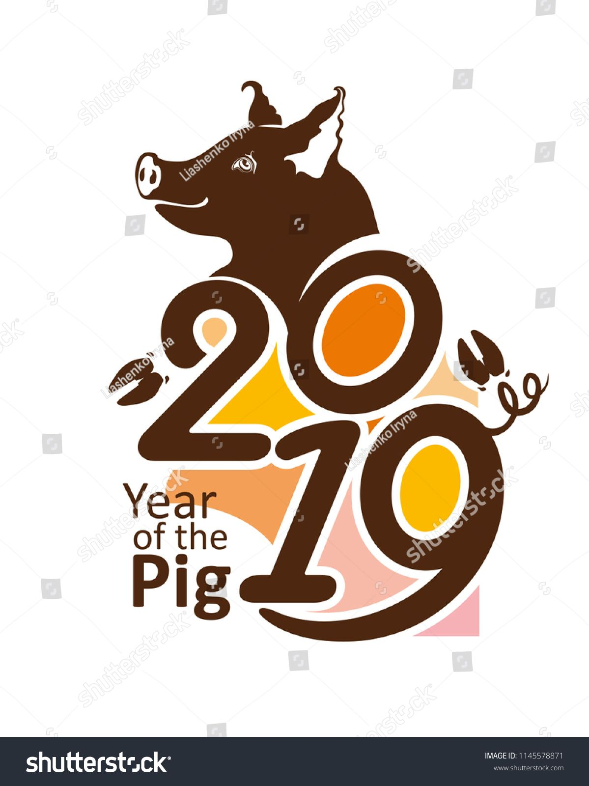 c5d5dcac2 Pig smiles. Brown vector template Year of the Pig 2019. Bright New Year's  design on the Chinese calendar.