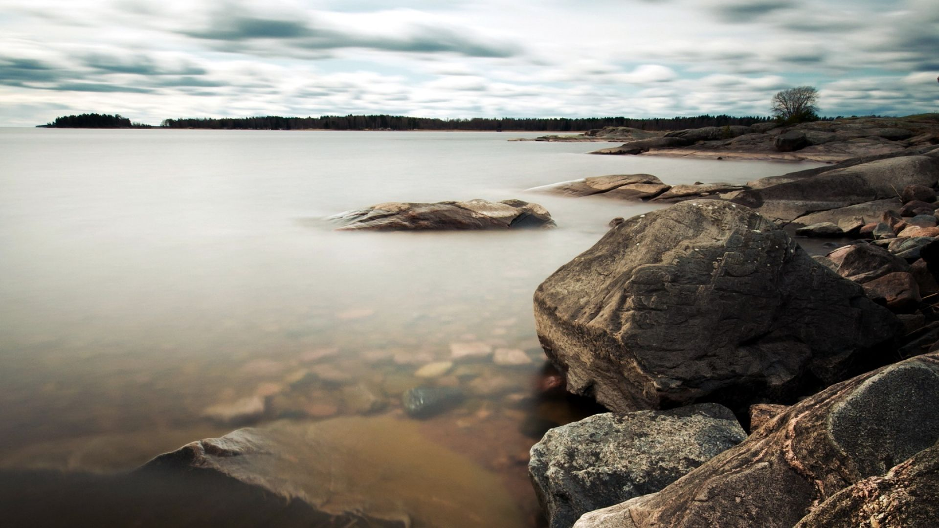 Download Wallpaper 1920x1080 Stones Lake Coast Emptiness Full Hd 1080p Hd Background