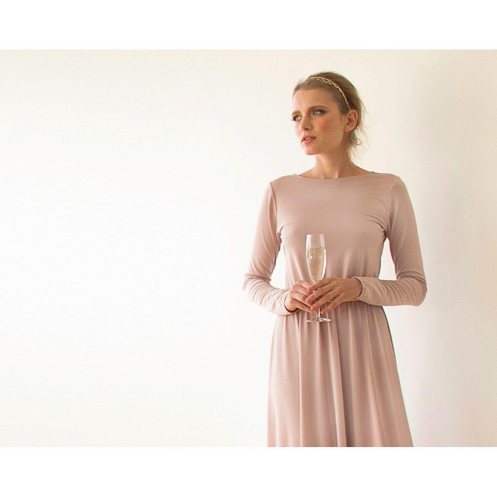 Blush pink open back maxi dress cowl back dress long