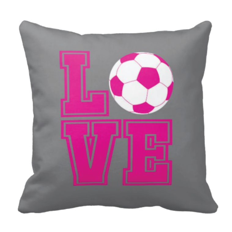 shining inspiration soccer furniture. Custom soccer ball LOVE throw pillow for players  Sports gift team Soccer Ball Throw Pillow Radiant Orchid Black and White