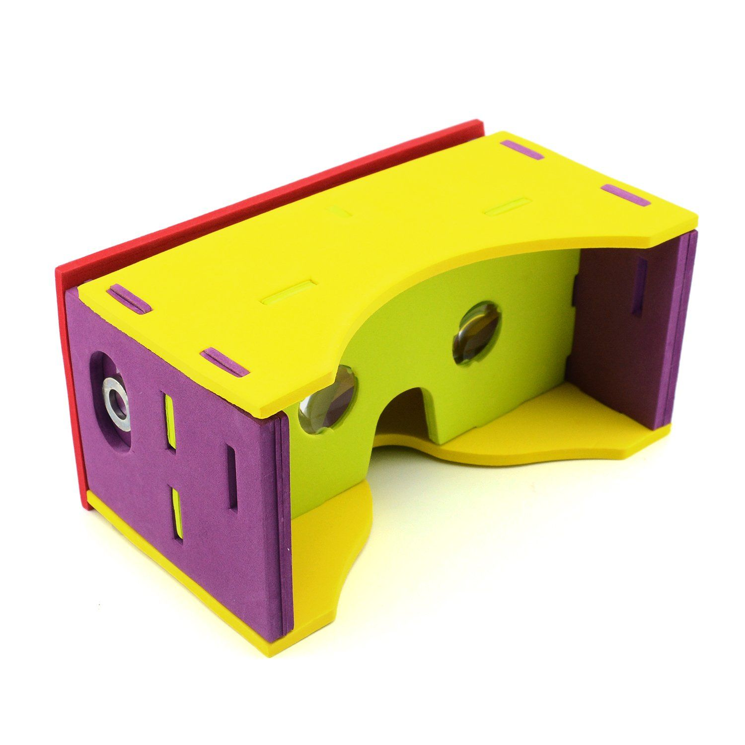 iSaddle Upgraded Google Cardboard Kit BIGGER EVA VERSION DIY 3D Glasses 3D Virtual Reality VR HD Visual Experience with 45mm Lenses & NFC Sticker & Magnet & HeadBand Compatible with Android & Apple. COMPLETE GOOGLE CARDBOARD KIT, Made of high quality environmentally friendly EVA foam material passed RoHS certificate. Biconvex lenses 25mm in diameter and Focal length 45mm (exact google cardboard specification). With NFC tag and headband.Bring you a more interseting experience. Supports LR...