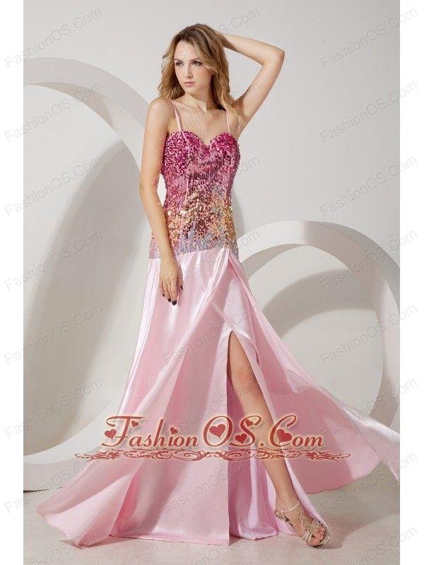 Baby Pink Empire Straps Prom / Evening Dress Brush Train Taffeta and ...