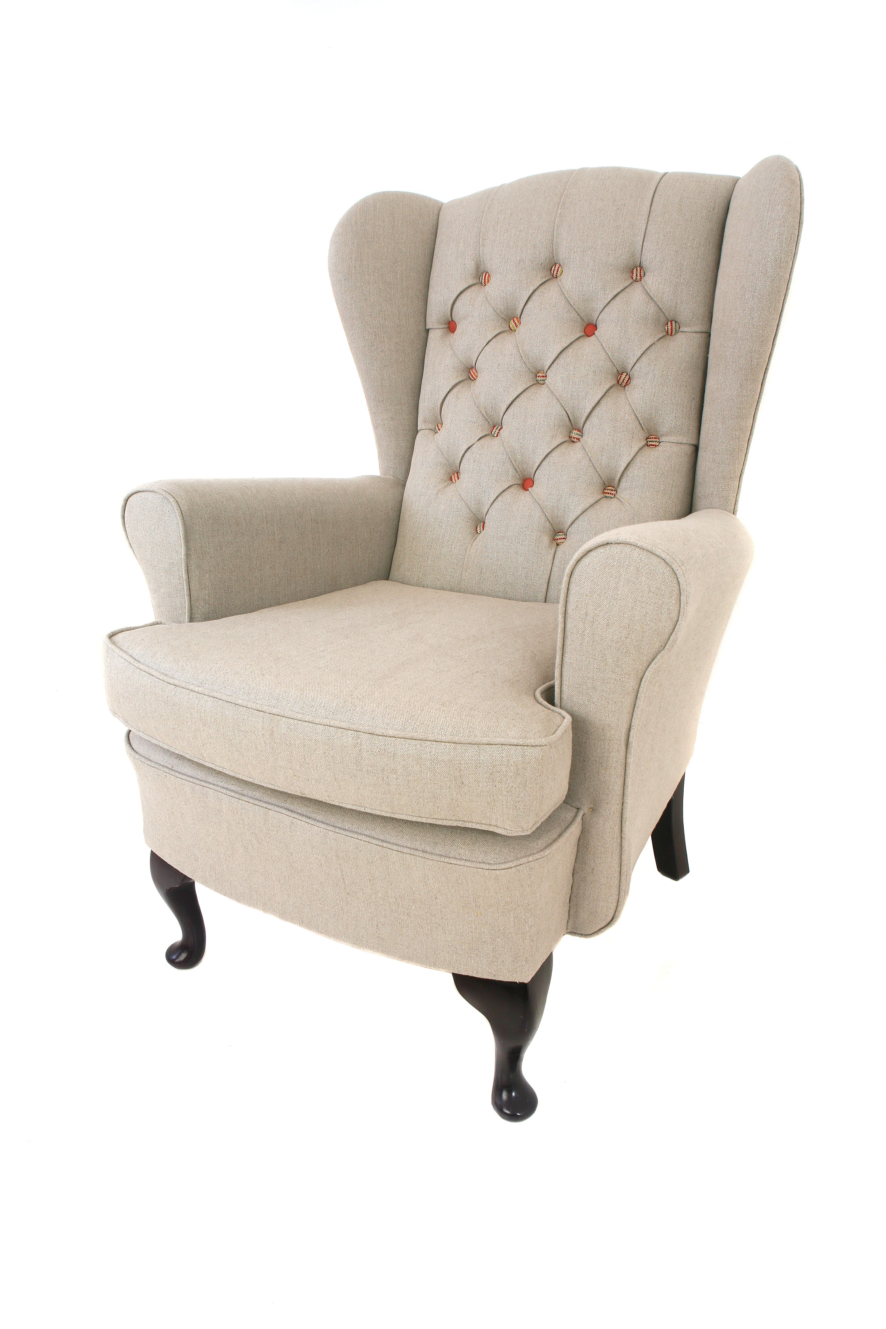 Modern Wing Chair Recovered In A Raw Look Linen By Biggie Best Modern Wingback Chairs Chair Wingback Chair
